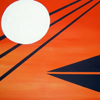 Last Frontier Moon – Peter Camden-Woodley – Contemporary Weybridge Artist – Acrylics and Metal Sculpture – Surrey Art Gallery