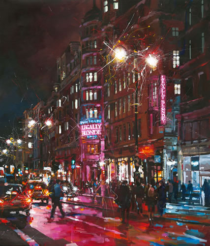 Legally Blonde at The Savoy Theatre - John Walsom - Contemporary and Architectural Artist - Buildings and Interiors in Oils and Watercolours - Surrey Art Gallery