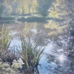 Light On The Pond, Brookwood – David Deamer – Artist in Oils and Pencil Portraits – Surrey Art Gallery – Pirbright Art Club – Woking Society of Arts