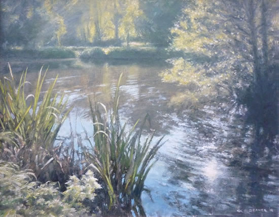 Light On The Pond, Brookwood - David Deamer - Artist in Oils and Pencil Portraits - Surrey Art Gallery - Pirbright Art Club - Woking Society of Arts
