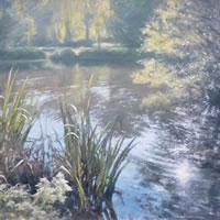 Light On The Pond, Brookwood – David Deamer – Artist in Oils and Pencil Portraits – Surrey Art Gallery – Pirbright Art Club – Woking Society of Arts