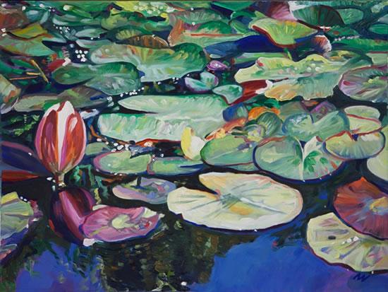 Lily Pond at Brockley End - Hampshire Artist Nicholas Walsh - Farnham Art Society
