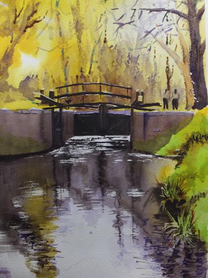 Lock Gates Basingstoke Canal - Woking Society of Arts - David Harmer - Surrey Artist