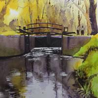Lock Gates, Basingstoke Canal – Woking Society of Arts – David Harmer – Surrey Artist