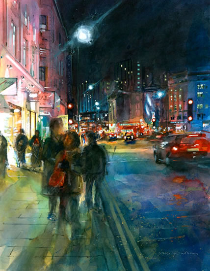London - Charing Cross Road - John Walsom - Contemporary and Architectural Artist - Buildings and Interiors in Oils, Acrylics and Watercolours - Surrey Art Gallery