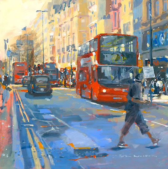 London - Oxford Street Coffee - John Walsom - Contemporary and Architectural Artist - Buildings and Interiors in Oils, Acrylics and Watercolours - Surrey Art Gallery