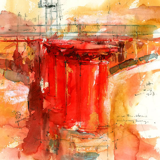 London Postbox - Old Blackfriars Bridge - John Walsom - Contemporary and Architectural Artist - Buildings and Interiors in Oils, Acrylics and Watercolours - Surrey Art Gallery