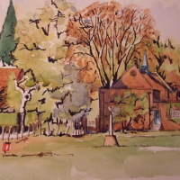 Lord Pirbright's Hall – Painting – Surrey Scene