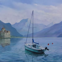 Switzerland – Moods of Montreux – A New Day – Daniele Mandelli – Painter of Oils – Molesey Art Society – Surrey Art Gallery