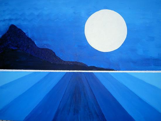Moon Rising on Ice Planet - Peter Camden-Woodley - Contemporary Weybridge Artist - Acrylics and Metal Sculpture - Surrey Art Gallery