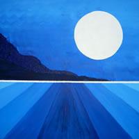Moon Rising on Ice Planet – Peter Camden-Woodley – Contemporary Weybridge Artist – Acrylics and Metal Sculpture – Surrey Art Gallery