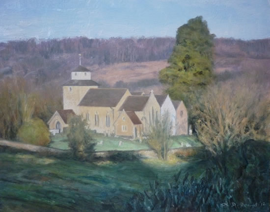 Morning Light, Wotton Church - David Deamer - Artist in Oils and Pencil Portraits - Surrey Art Gallery - Pirbright Art Club - Woking Society of Arts