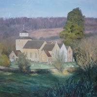 Morning Light, Wotton Church – David Deamer – Artist in Oils and Pencil Portraits – Surrey Art Gallery – Pirbright Art Club – Woking Society of Arts