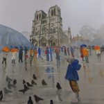 Notre Dame de Paris in the Rain – Pirbright Art Club – Watercolour Gallery – Surrey Artist David Harmer