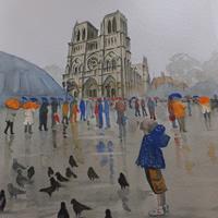 Notre Dame de Paris in the Rain – Pirbright Art Club – Watercolour Gallery – Surrey Artist David Harmer