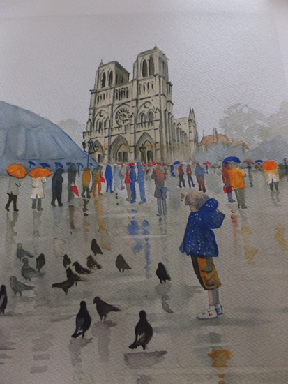 Notre Dame de Paris in the Rain - Pirbright Art Club - Watercolour Gallery - Surrey Artist David Harmer