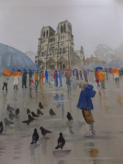 Notre Dame de Paris in the Rain - Pirbright Art Club - Watercolour Gallery - Surrey Artist David Harmer
