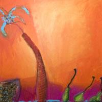Orange 1 – Zainab Ali – Mixed Media Paintings and Textile Artist – Surrey Art Gallery