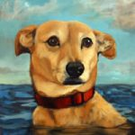 Painting of Dog Swimming In The Sea – Sussex – Colette Simeons – Portrait Artist – Surrey Art Gallery