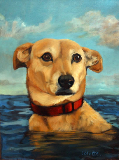 Painting of Dog Swimming In The Sea - Sussex - Colette Simeons - Portrait Artist - Surrey Art Gallery