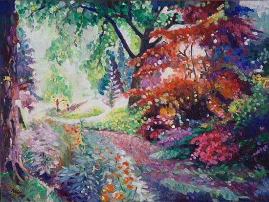 Pathway at Ramster Gardens, Chiddingfold - Farnham Art Society Artist Nicholas John Walsh