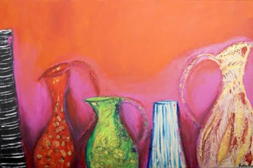 Pink & Red 2 - Zainab Ali - Mixed Media Paintings and Textile Artist - Surrey Art Gallery