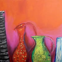 Pink & Red 2 – Zainab Ali – Mixed Media Paintings and Textile Artist – Surrey Art Gallery