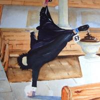 Pirbright Church – Cartwheeling Dean – Painting of Surrey Life