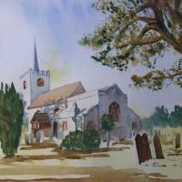 Pirbright Church- Painting – Surrey Art Gallery