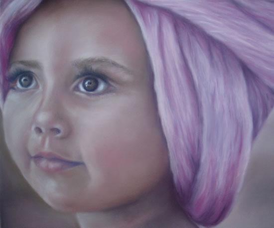 Portrait Painting of Girl - Rita - Cranleigh Surrey Artist Maureen Domoney