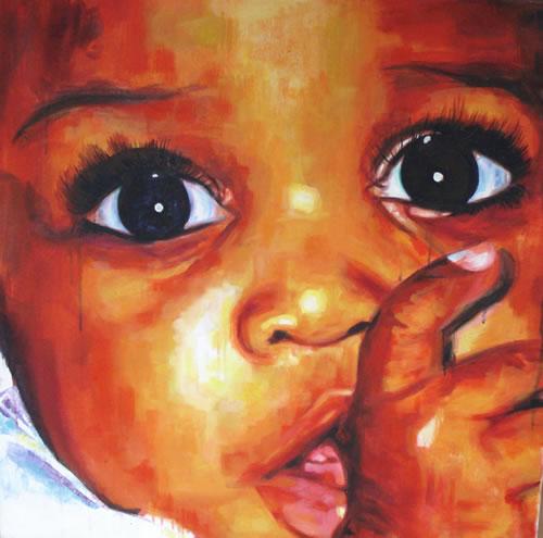 Portrait - African Child - Big Eyes - Joanna McConnell - Portrait Artist - Surrey Art Gallery