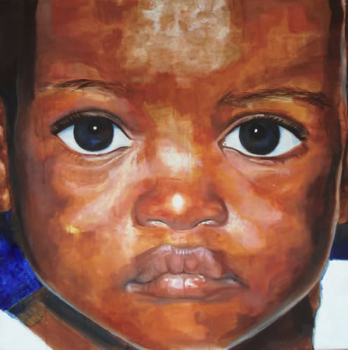 Portrait - African Child - New - Joanna McConnell - Portrait Artist - Surrey Art Gallery