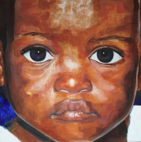 Portrait - African Child - New - Joanna McConnell - Portrait Artist - Surrey Art Gallery