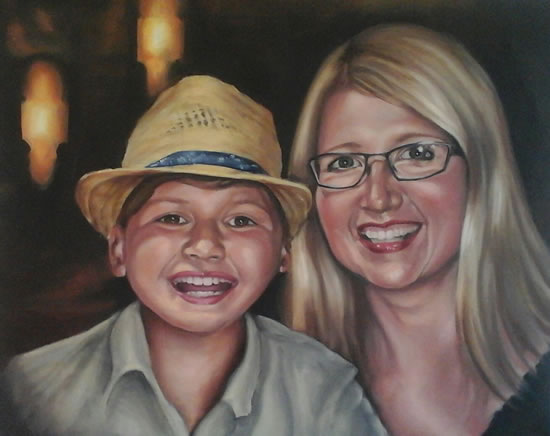 Portrait Art Commisions - Mother and Child - Surrey Art Gallery - Maureen Domoney - Cranleigh Artist