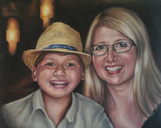 Portrait Art Commisions - Mother and Child - Surrey Art Gallery - Maureen Domoney - Cranleigh Artist