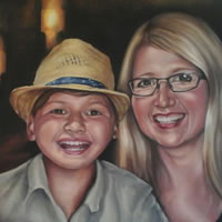 Portrait Art Commisions – Mother and Child – Surrey Art Gallery – Maureen Domoney – Cranleigh Artist