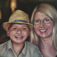 Portrait Art Commisions – Mother and Child – Surrey Art Gallery – Maureen Domoney – Cranleigh Artist