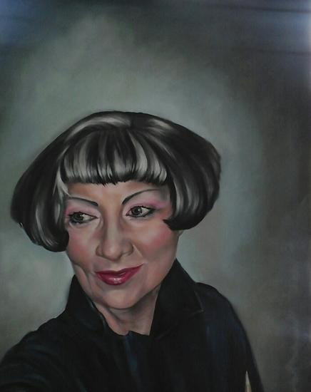Portrait Art Commisions - Woman - Portrait of Lady in Black - Surrey Art Gallery - Maureen Domoney - Cranleigh Artist