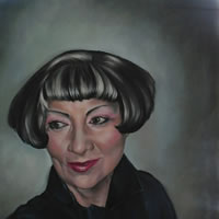 Portrait Art Commisions – Woman – Portrait of Lady in Black – Surrey Art Gallery – Maureen Domoney – Cranleigh Artist