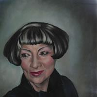 Portrait Art Commisions – Woman – Portrait of Lady in Black – Surrey Art Gallery – Maureen Domoney – Cranleigh Artist