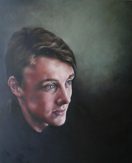 Portrait Art Commisions - Young Man - Portrait of Freddie - Surrey Art Gallery - Maureen Domoney - Cranleigh Artist
