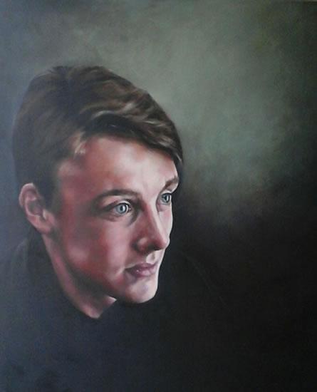 Portrait Art Commisions - Young Man - Portrait of Freddie - Surrey Art Gallery - Maureen Domoney - Cranleigh Artist