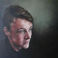 Portrait Art Commisions – Young Man – Portrait of Freddie- Surrey Art Gallery – Maureen Domoney – Cranleigh Artist