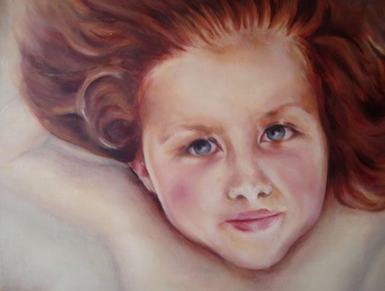 Portrait Art - Painting of Girl - Frida - Cranleigh Surrey Artist Maureen Domoney