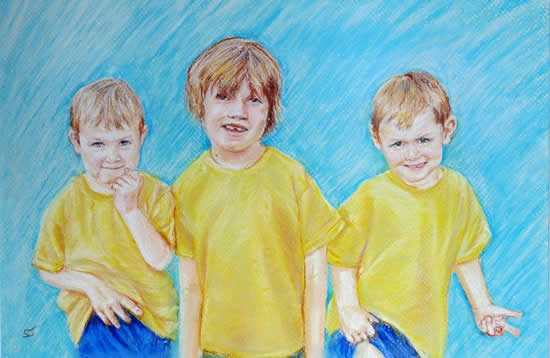 Portrait Of Children - Maloney Commission - Sarah James - Portrait Artist in Oils and Pastels - Richmond Art Society - Surrey Art Gallery