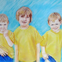 Portrait Of Children – Maloney Commission – Sarah James – Portrait Artist in Oils and Pastels – Richmond Art Society – Surrey Art Gallery