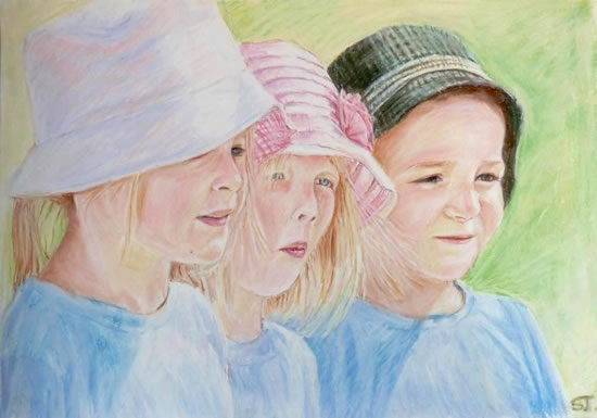 Portrait Of Children - Summer's Day - Sarah James - Portrait Artist in Oils and Pastels - Richmond Art Society - Surrey Art Gallery