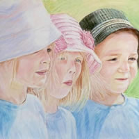 Portrait Of Children – Summer's Day – Sarah James – Portrait Artist in Oils and Pastels – Richmond Art Society – Surrey Art Gallery