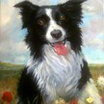 Portrait Painting – Border Collie Dog – Colette Simeons – Portrait Artist – Surrey Art Gallery