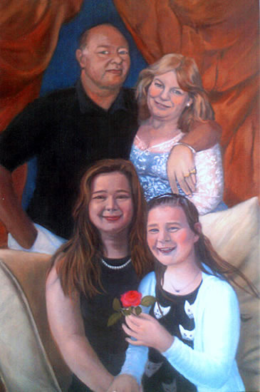 Portrait Painting Of Family Group - Colette Simeons - Portrait Artist - Surrey Art Gallery